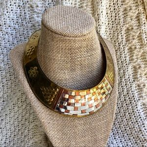 Jewelry - Vintage Brass Copper Woven Collar Choker Necklace